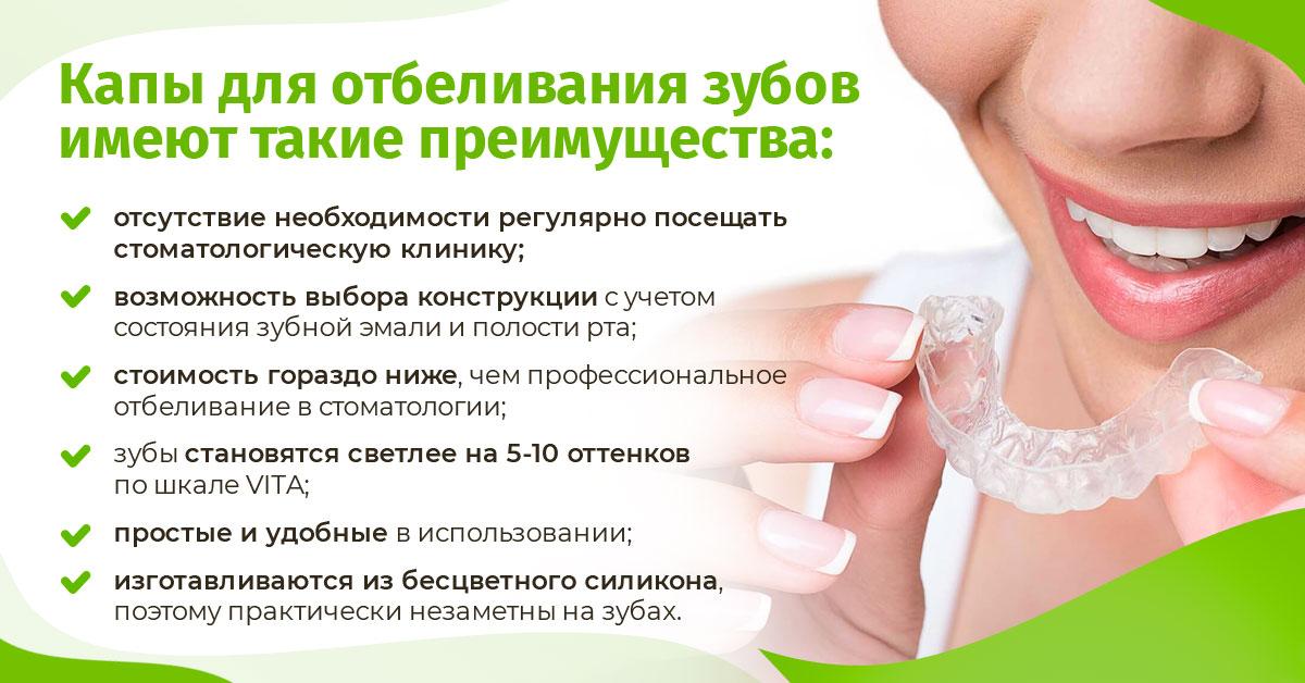 Как использовать капы для отбеливания зубов дома