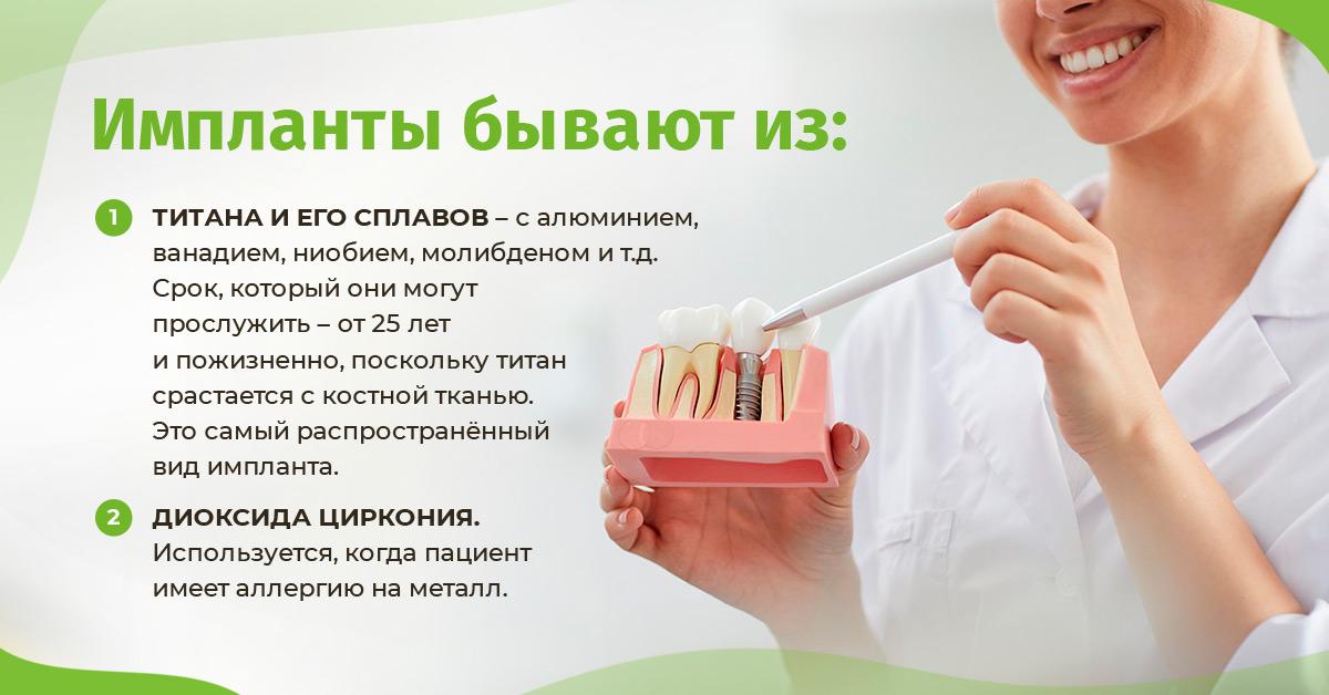 Чаще всего для импланта используют: