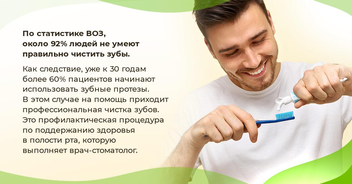По статистике ВОЗ, около 92% людей не умеют правильно чистить зубы