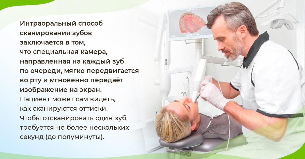 Интраоральный способ сканирования зубов заключается в том, что специальная камера, направленная на каждый зуб по очереди, мягко передвигается во рту и мгновенно передаёт изображение на экран.